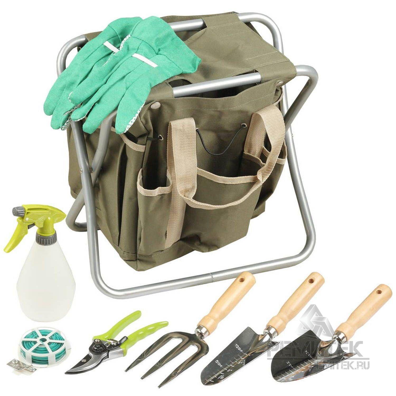 Скамейка GRINDA садовая складная, двухсторонняя, с сумкой и набором инструментов, 7предметов - фото 1