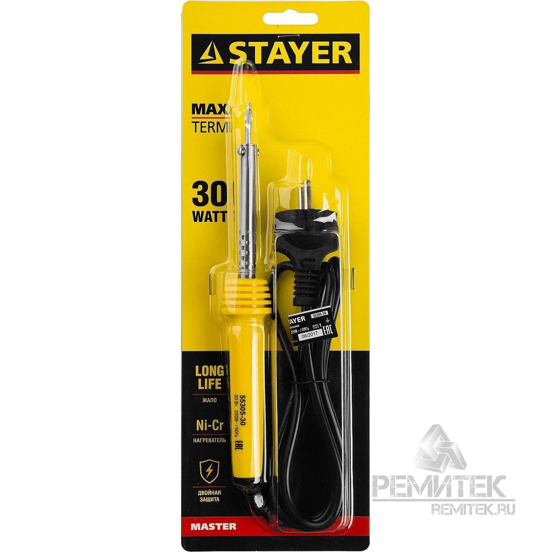 Паяльник MAXTerm с пластмассовой рукояткой, жало - конус, STAYER 55305-30, 30 Вт - фото 4